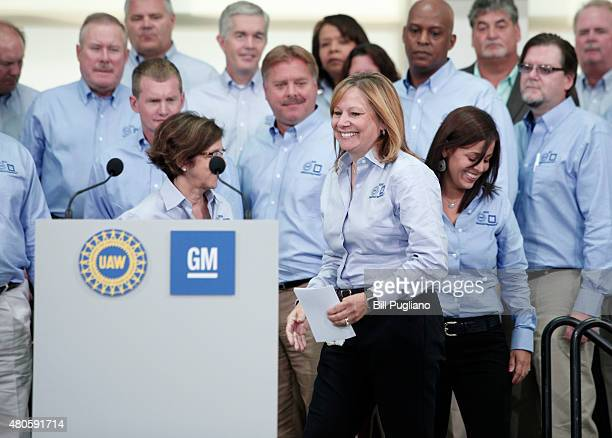General Motors CEO Mary Barra takes the stage prior to the start of the 2015 UAWGM auto contract negotiations at the UAWGM Center for Human Resources...