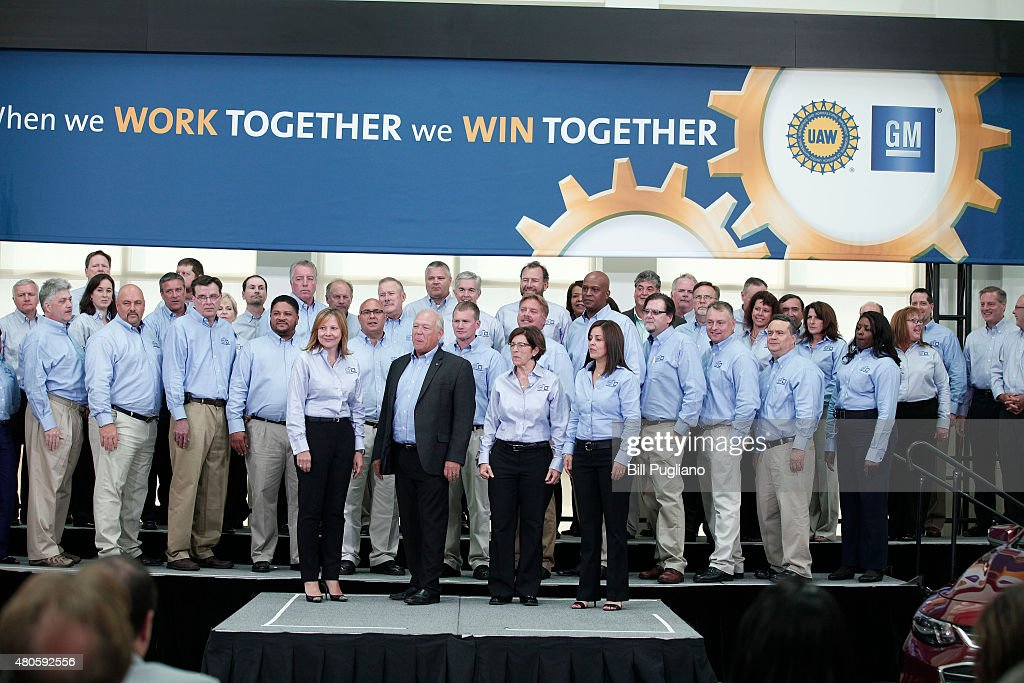 General Motors CEO Mary Barra United Auto Workers President Dennis Williams GM Vice President North America Manufacturing and Labor Relations Cathy...