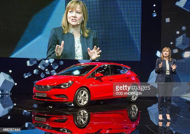 General Motors CEO Mary T Barra presents the new Opel Astra at the 66th IAA auto show in Frankfurt am Main western Germany on September 15 2015...