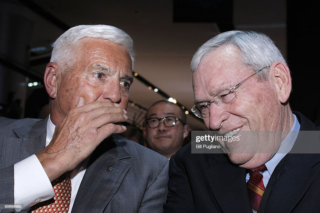 General Motors Chairman and CEO Ed Whitacre (R) talks with GM Vice Chairman <a gi-track='captionPersonalityLinkClicked' href=/galleries/search?phrase=Bob+Lutz&family=editorial&specificpeople=226686 ng-click='$event.stopPropagation()'>Bob Lutz</a> before the reveal of the new Chevrolet Aveo RS concept vehicle at the North American International Auto Show January 11, 2010 in Detroit, Michigan. The 2010 North American International Auto Show (NAIAS) opens to the public January 16th.