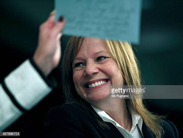 General Motors Chief Executive Officer Mary Barra answers a question from an audience member while addressing the Detroit Economic Club October 28...