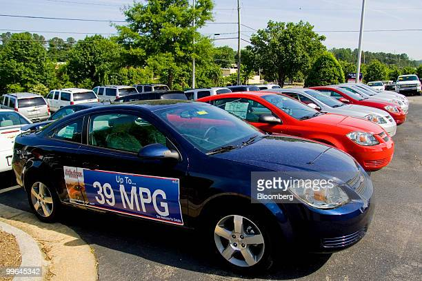 General Motors Co 2010 Chevrolet Cobalt compacts sit on display at Bobby Murray Chevrolet dealership in Raleigh North Carolina US on Saturday May 15...