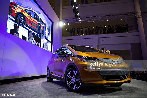 A General Motors Co Chevrolet Bolt EV vehicle sits on display after winning the 2017 Car of the Year during the North America Car Truck and Utility...