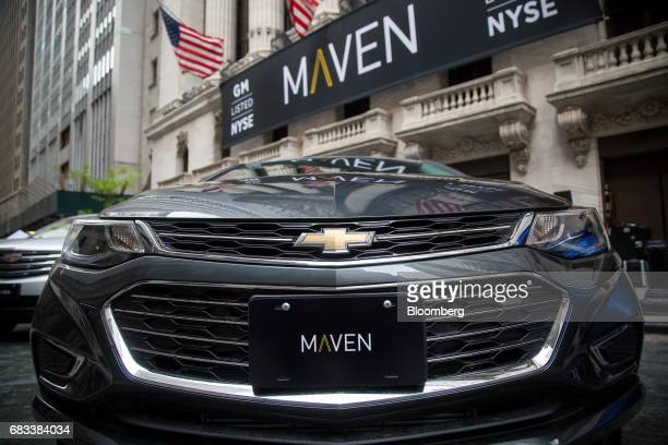 A General Motors Co Maven carsharing service vehicle sits parked in front of the New York Stock Exchange in New York US on Monday May 15 2017 US...