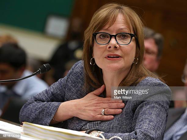 General Motors Company CEO Mary Barra testifies during a House Energy and Commerce Committee hearing on Capitol Hill on April 1 2014 in Washington DC...