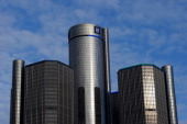 General Motors headquarters in the Renaissance Center are seen on January 14 2014 in Detroit as previews continue at the North American International...