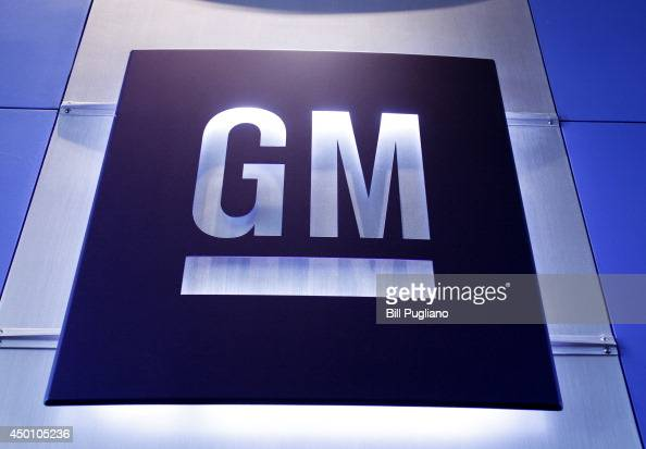 General Motors logo is shown at the General Motors Technical Center where today Chief Executive Officer Mary Barra held a press conference on June 5...