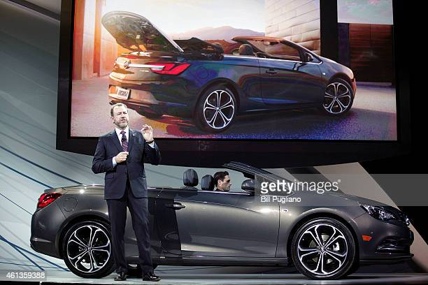 General Motors President Dan Ammann reveals the new Buick Cascada Convertible to the media on the eve of the 2015 North American International Auto...