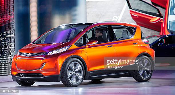 General Motors reveals the new Chevrolet Bolt concept to the media at the 2015 North American International Auto Show on January 12 2015 in Detroit...