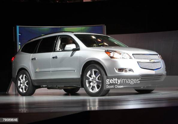 General Motors unveils the 2009 Chevrolet Traverse at the Chicago Auto Show February 6 2008 in Chicago Illinois This is the 100th year for the...