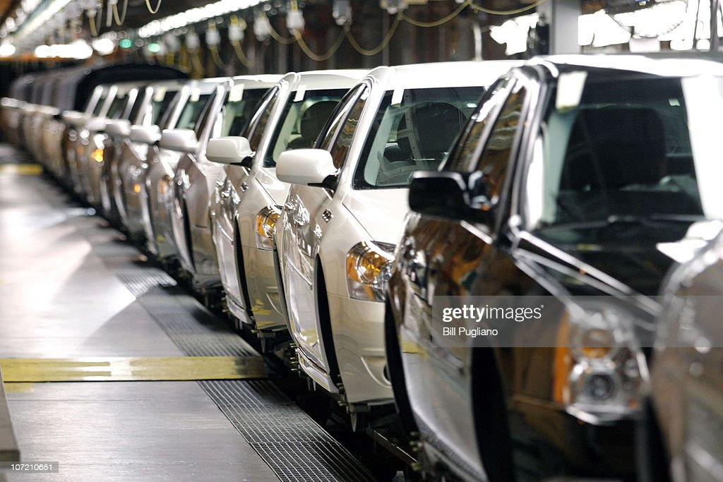 General Motors vehicles go through assembly after GM celebrated the official launch of the Chevrolet Volt hybrid electric vehicle at GM's...