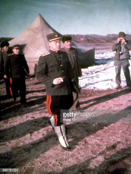 General Namii North Korean delegate in the foreground and General Pien Chang Wu leaving the Panmunjom conference November 28 Korean War US Signal...