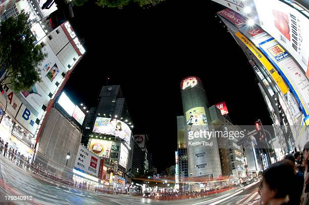 A general night view of Shibuya 109 intersection on August 31 2013 in Tokyo Japan Shibuya is known as one of the fashion centers of Japan and major...