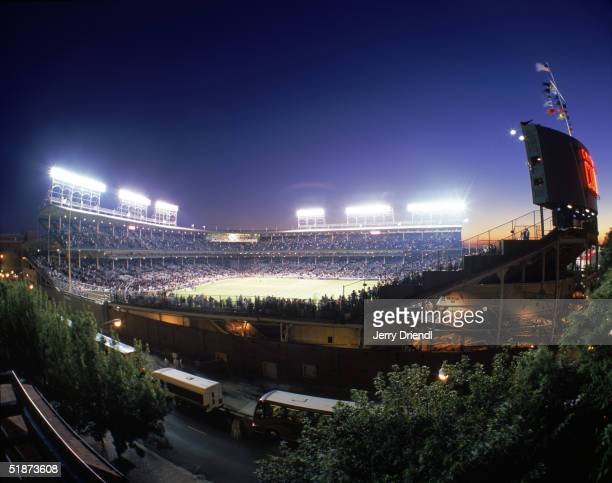 General night view of Wrigley Field from Murphy's bleachers across the street from Wrigley Field during a game between the Philadelphia Phillies and...