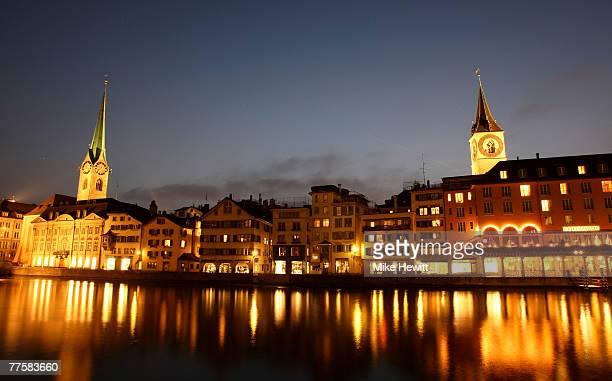 General night view of Zurich Switzerland on October 17 2007 in Zurich Switzerland