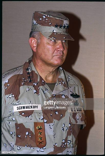 General Norman Scharzkopf commander in chief during the Persian Gulf War meets with Saudi Arabia's minister of defense Prince Sultan bin Abdul Aziz...