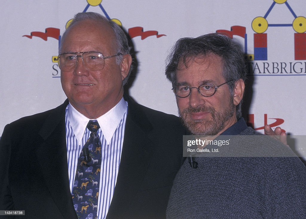 General Norman Schwarzkopf and director Steven Spielberg attend the Starlight Foundation's Launch of Its Starbright World (Computer Network) on November 8, 1995 at teh Mount Sinai Medical Center in New York City.