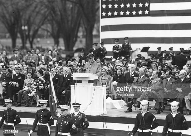 General of the Army Douglas MacArthur addresses a crowd of 200000 people during an official welcome to the city at the George Washington Monument...