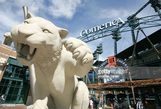 A general of the exterior of Comerica Park is seen prior to the start of Game Four of the American League Championship Series between the Detroit...