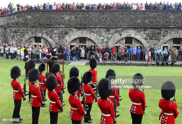 General Officer Commanding Scotland Major General Nick Eeles salutes as Gunners from the 105th Regimental Royal Artillery who fired a 21 gun Royal...