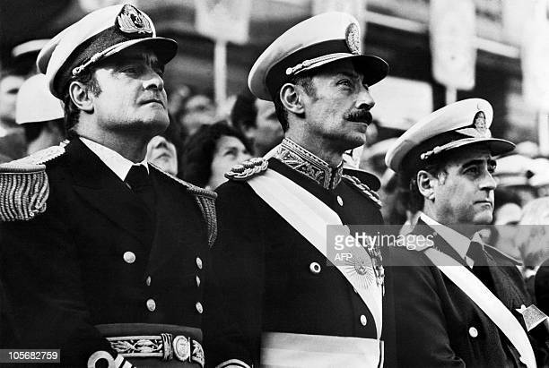 General Orlando Ramon Agosti Commandant of Argentinian Air Force Lieutenant General Jorge Rafael Videla President of Argentina and Admiral Emilio...