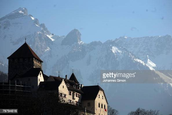 General outside view of Liechtenstein Castle home of the Princes of Liechtenstein seen on February 16 2008 in Vaduz Liechtenstein The ministate is...