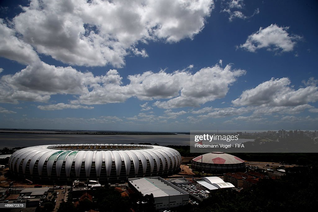 A general outside view of the Estadio BeiraRio during the 2014 FIFA World Cup Host City Tour on February 17 2014 in Porto Alegre Brazil