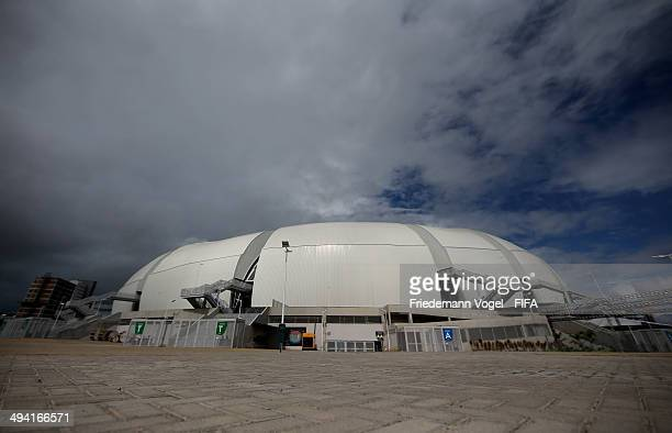 A general outside view of the Estadio das Dunas during the 2014 FIFA World Cup Host City Tour on May 28 2014 in Natal Brazil
