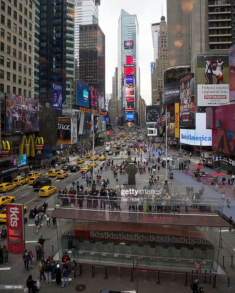 A general over head view of the billboard unveiled at Global Mom Relay Video Launch Event at Times Square on April 11, 2013 in New York City.