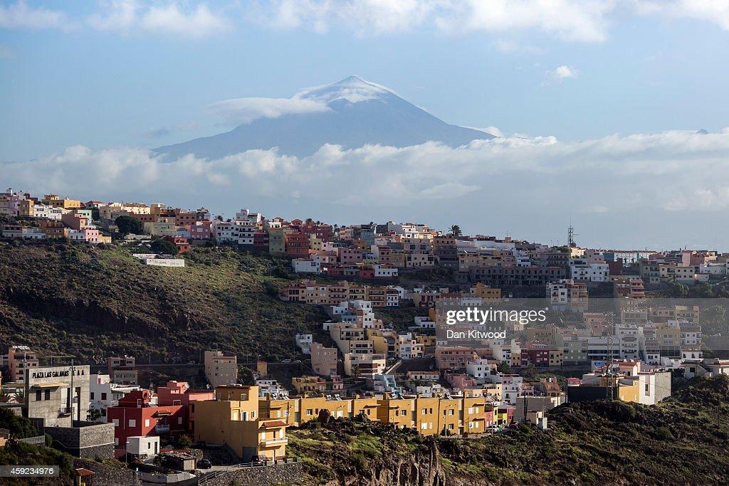 A general over San Sebastian de la Gomera looking towards El Teide on Tenerife on November 16 2014 in La Gomera Canary Island Spain