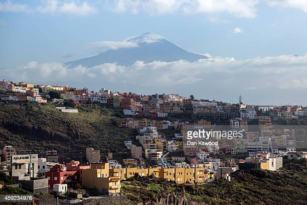 A general over San Sebastian de la Gomera looking towards El Teide on Tenerife on November 16 2014 in La Gomera Canary Island Spain