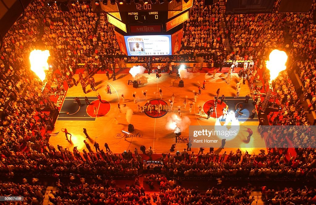 A general overal view as the arena is lit up during Detroit Pistons player introductions before game four of the 2004 NBA Finals against the Los...