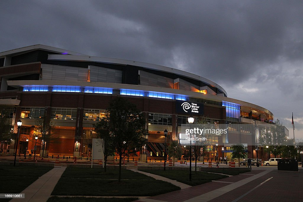 A general overall exterior view of the game between the Charlotte Bobcats against the New York Knicks at the Time Warner Cable Arena on April 15, 2013 in Charlotte, North Carolina.