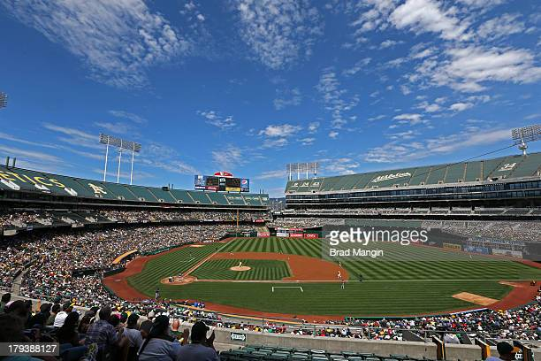General overall scenic interior view with clouds during the game between the Texas Rangers and Oakland Athletics during the game at Oco Coliseum on...