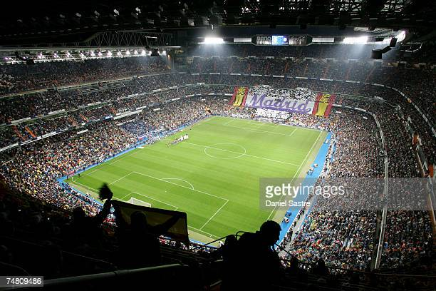 A general overall view inside of Real Madrid's Santiago Bernabeu stadium on October 22 2006 in Madrid Spain