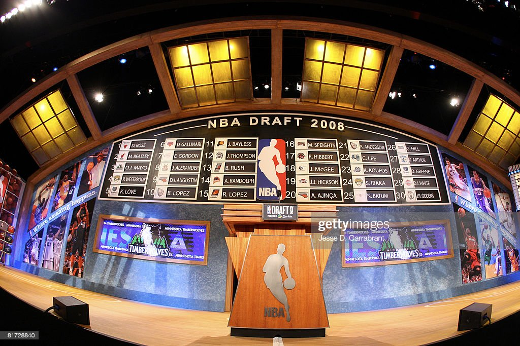 A general overall view of the draft stage during the 2008 NBA Draft on June 26, 2008 at the WaMu Theatre at Madison Square Garden in New York City.