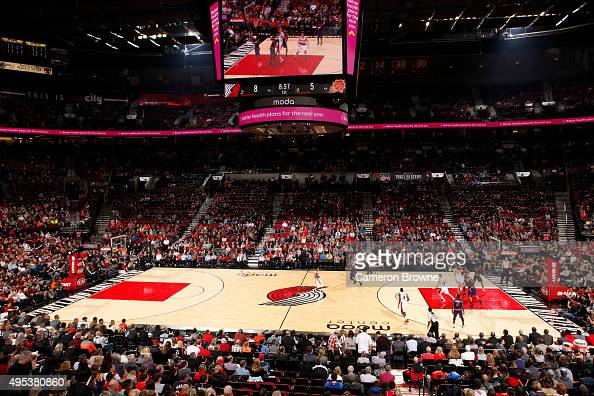 A general overall view of the game between the Phoenix Suns and the Portland Trail Blazers on October 31 2015 at the Moda Center Arena in Portland...