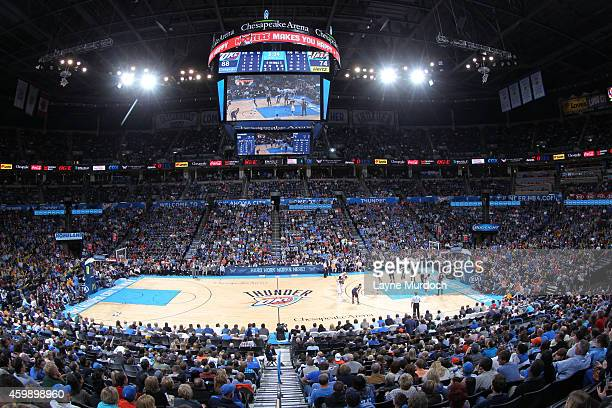 A general overall view of the game between the Utah Jazz and Oklahoma City Thunder on November 26 2014 at the Chesapeake Energy Arena in Oklahoma...