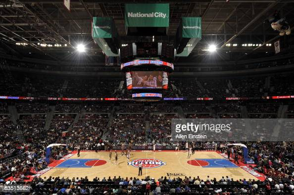 A general overall view of the Palace of Auburn Hills and the jumbotron during the season opener between the Detroit Pistons and the Indiana Pacers on...