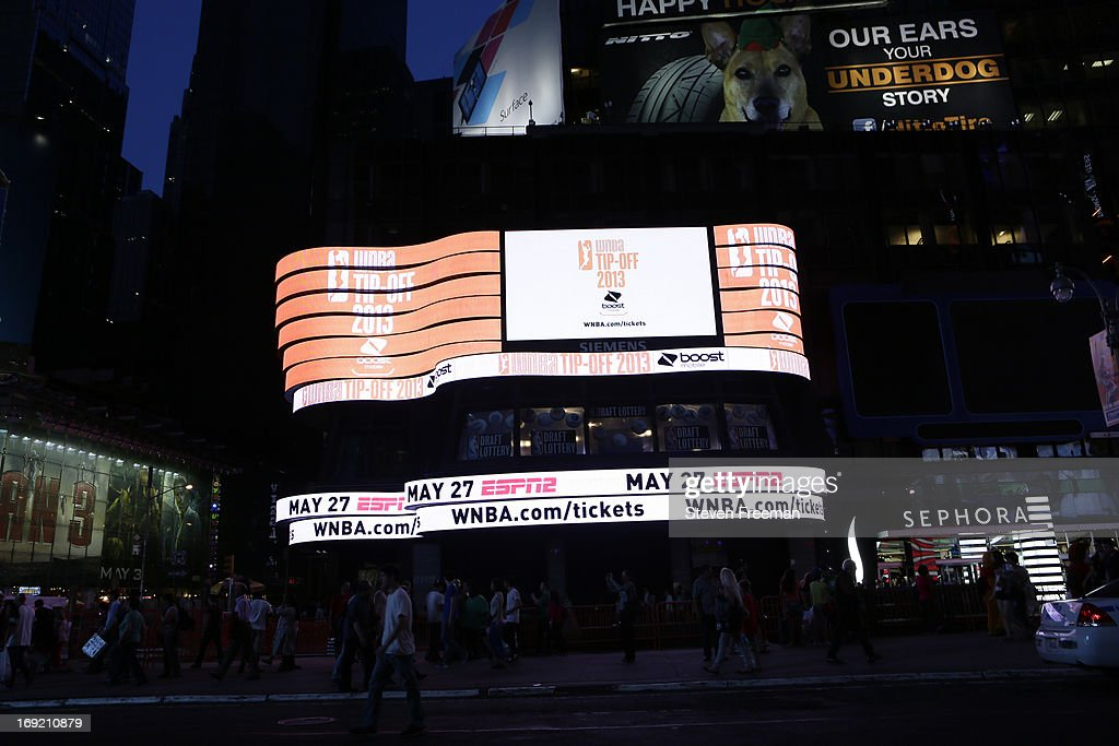 A general overall view of the Times Square Jumbotrons broadcasting the 2013 NBA Draft Lottery on May 21, 2013 at the ABC News' 'Good Morning America' Times Square Studio in New York City.