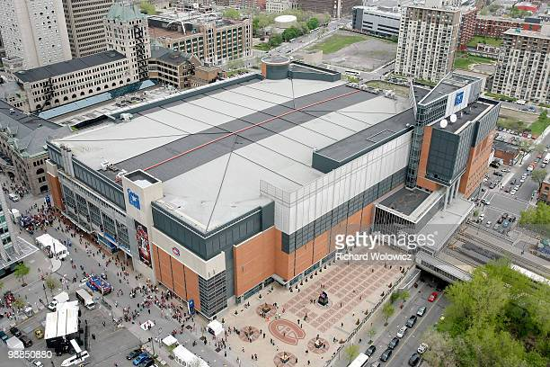 A general overhead view of fans arriving at the Bell Centre for Game Three of the Eastern Conference Semifinals between the Montreal Canadiens and...
