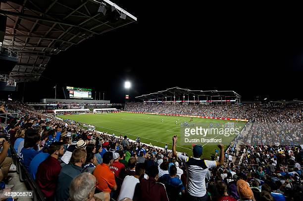 A general overhead view of the pitch during the 2015 ATT Major League Soccer AllStar game between the MLS AllStars and the Tottenham Hotspur at...