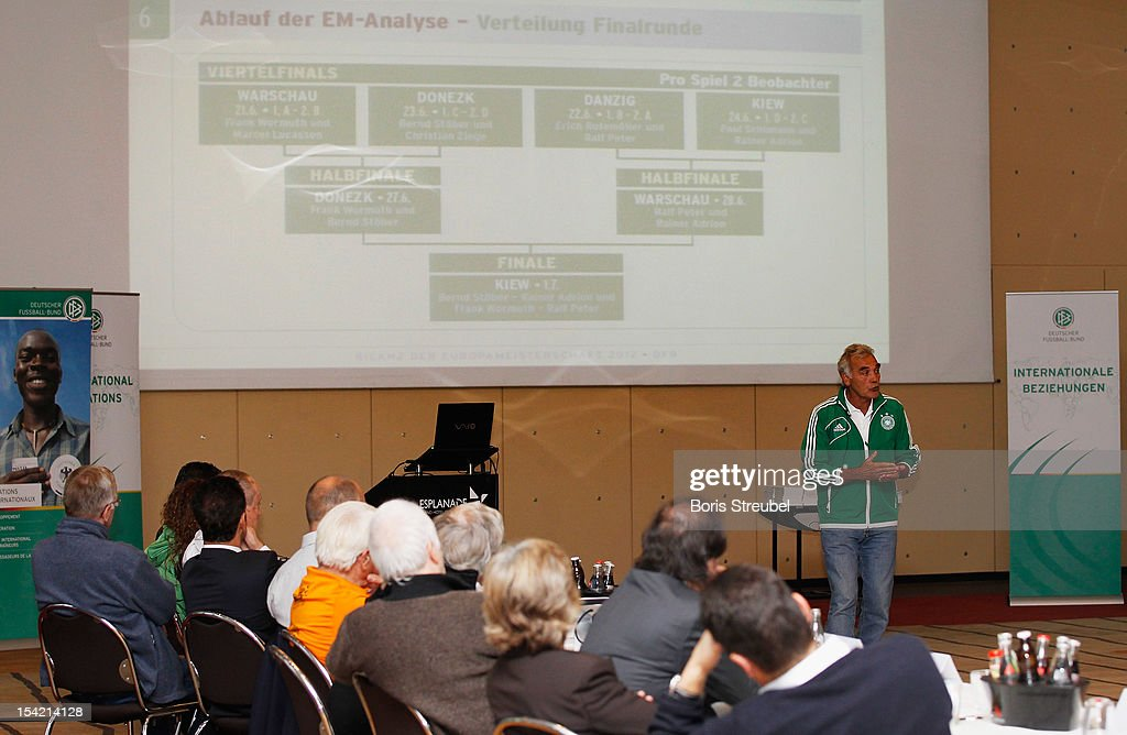 A general overview during a speech of Bernd Stoeber of the German football association (DFB) during the International Experts Meeting at Grand Hotel Esplanade on October 16, 2012 in Berlin, Germany.