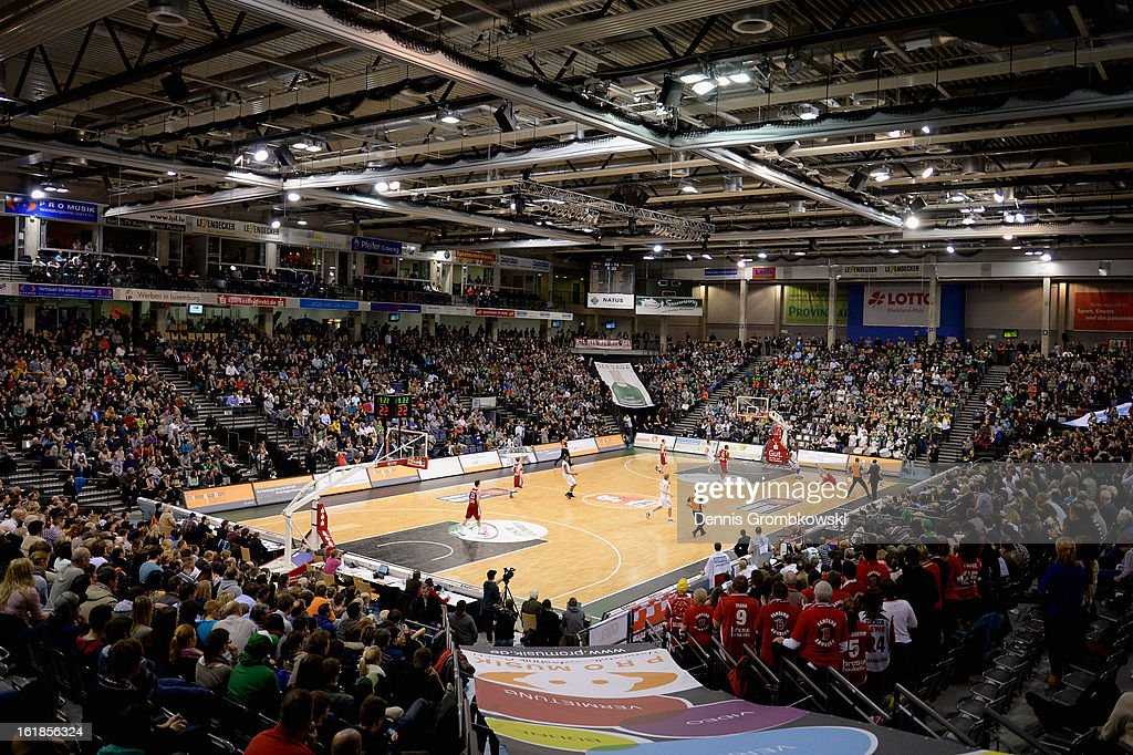 A general overview during the Beko BBL Basketball Bundesliga match between TBB Trier and Brose Baskets on February 17, 2013 in Trier, Germany.