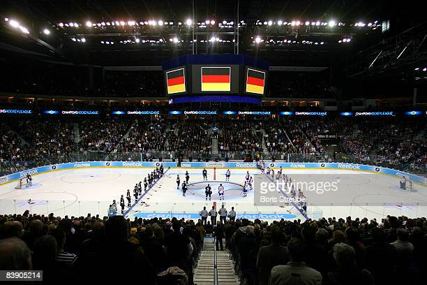 A general overview during the teams line up for the anthems prior to the IIHF Champions Hockey League Group A match between EHC Eisbaeren Berlin and...