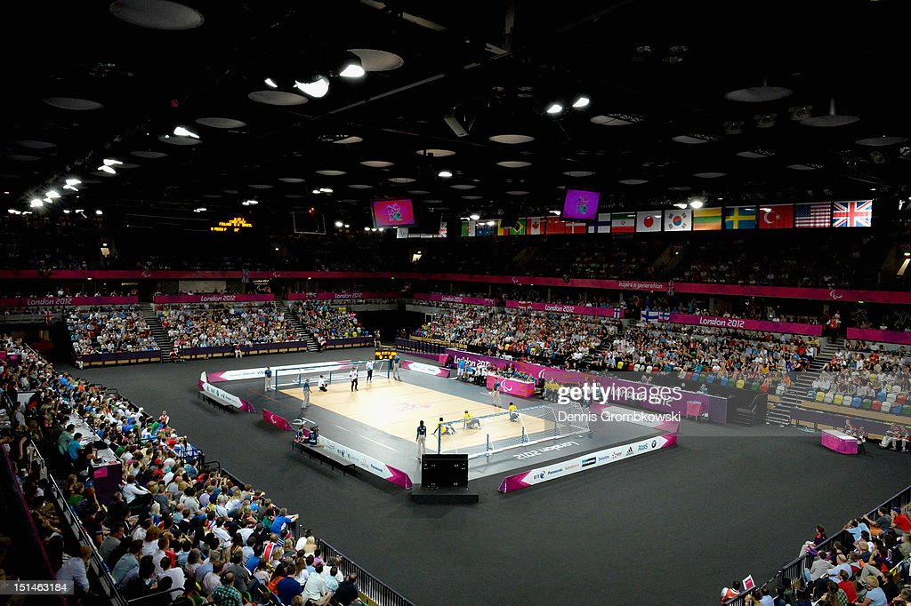 A general overview is pictured during the Men's Team Goalball competition on day 9 of the London 2012 Paralympic Games at The Copper Box on September 7, 2012 in London, England.