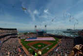 A general overview of ATT Park during the singing of the National Anthem prior to the start of the Arizona Diamondback and San Francisco Giants MLB...