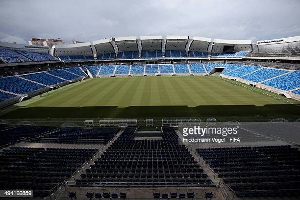 A general overview of Estadio das Dunas during the 2014 FIFA World Cup Host City Tour on May 28 2014 in Natal Brazil