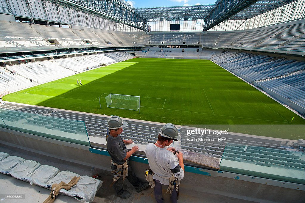 A general overview of the Arena da Baixada stadium under construction during the 2014 FIFA World Cup Host City Tour on April 22, 2014 in Curitiba, Brazil