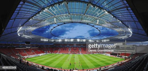 A general overview of the BayArena is pictured during a training session of Paris SaintGermain ahead of the UEFA Champions League match between Bayer...